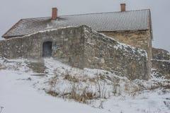 上部岩石堡垒,一个灰色和大风天 库存图片