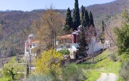 上部Panagia齐尼亚修道院,色萨利,希腊 图库摄影
