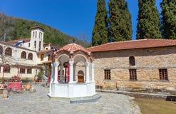 上部Panagia齐尼亚修道院,色萨利,希腊 免版税图库摄影