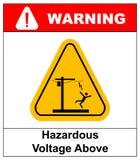 上面危害电压 传染媒介警告横幅 库存照片