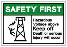 上面安全第一危害电压让开死亡或严重的伤害将发生标志标志,传染媒介例证,孤立  库存例证