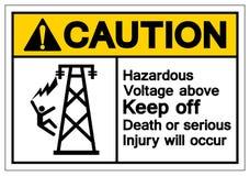 上面小心危害电压让开死亡或严重的伤害将发生标志标志,传染媒介例证,在白色的孤立 库存例证