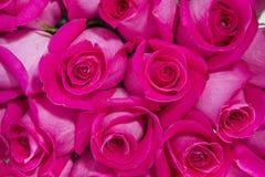 从上面桃红色玫瑰花束关闭 免版税图库摄影