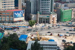从上面的看法在繁忙的城市 库存照片