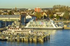 从上面被看见的腓特烈港港口 免版税库存照片