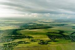 从上面被看见的镇或村庄看法  免版税库存图片