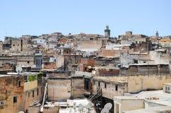 从上面被看见的Fes麦地那,摩洛哥 免版税库存图片