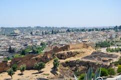 从上面被看见的Fes麦地那,摩洛哥 免版税库存照片