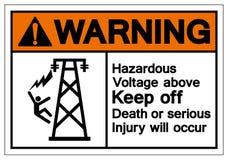 上面警告的危害电压让开死亡或严重的伤害将发生标志标志,传染媒介例证,在白色的孤立 向量例证