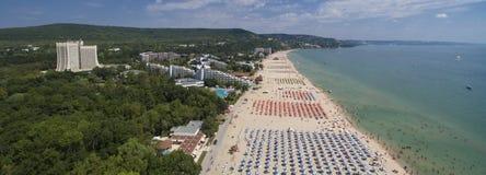 从上面Albena海滩全景,保加利亚 免版税图库摄影