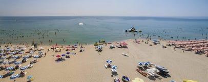 从上面Albena海滩全景,保加利亚 库存图片