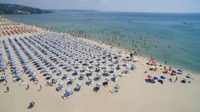 从上面Albena海滩全景,保加利亚 免版税库存图片