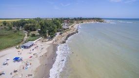 从上面Durankulak村庄,黑海海岸 免版税库存图片