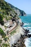 从上面Manarola火车站,意大利 库存图片