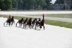 上马具的赛马比赛路线 免版税库存照片