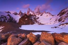 登上费兹罗伊风景看法  巴塔哥尼亚 库存图片