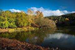 登上崇高Garden湖在下午太阳 库存图片