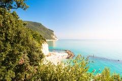 登上Conero自然储备地方公园在西罗洛,意大利 免版税图库摄影