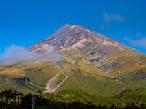 登上Egmont或Taranaki火山,新西兰 免版税库存照片