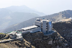 登上Generoso山顶的现代餐馆  库存照片