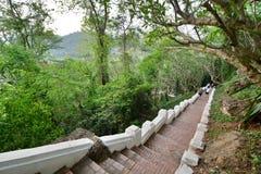 登上Phousi的台阶 老挝 老挝 免版税图库摄影