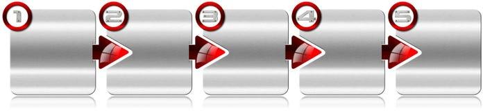 下一个步骤有红色箭头的金属箱子 免版税图库摄影