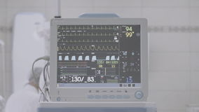 滴下与ECG显示器运转中室,校正的不是颜色,有益于颜色分级 股票录像
