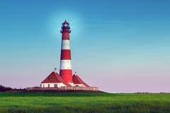 下午的灯塔Westerhever 免版税库存图片