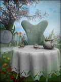 下午茶在庭院里 库存图片