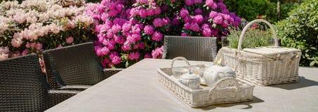 下午茶时间在庭院里 库存图片