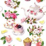 下午茶时间样式:花,茶杯,蛋糕,茶壶 水彩 无缝的背景 库存照片