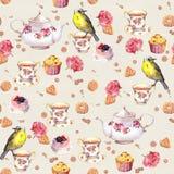 下午茶时间:茶罐,杯子,蛋糕,玫瑰色花,鸟 无缝的模式 水彩 免版税库存图片