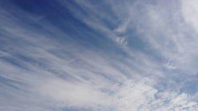 下午蓝色夏天天空和卷积云漂亮时代时间间隔由风运载了 股票视频