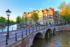 下午运河阿姆斯特丹 免版税库存照片