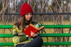 下午读书在公园 免版税库存图片