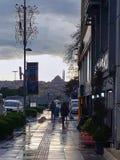 下午Kasimpasa伊斯坦布尔日落 免版税库存照片