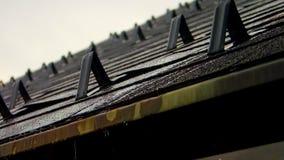 滴下和滴下在房子屋顶的雨 免版税库存图片