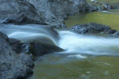 滑下在急流,法明顿河, Nepaug森林,新的哈特福德, 免版税库存图片