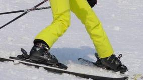 下坡非职业滑雪者女孩 股票录像