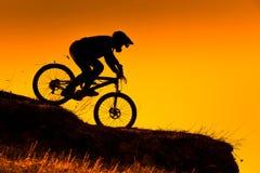下坡登山车车手剪影在日落的 免版税库存照片