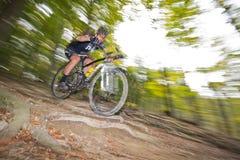 下坡mountainbiking的越野通过森林 免版税图库摄影