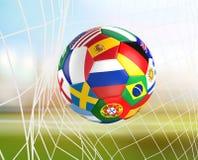 下垂在足球网的足球 socer目标3d翻译 图库摄影