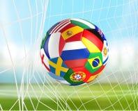 下垂在足球网的足球 socer目标3d翻译 免版税库存照片
