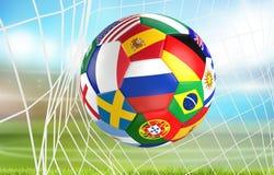 下垂在足球网的足球 socer目标3d翻译 库存图片
