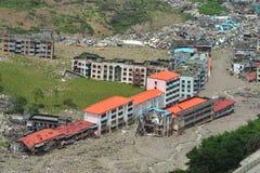下巴城市损坏的地震四川 库存照片