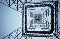 下建筑钢塔 免版税图库摄影