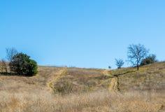 下来土道路有2个远足者的绵延山距离的 免版税库存图片
