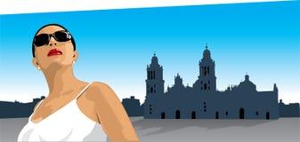 下来城市墨西哥城镇妇女 库存图片