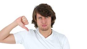 下来拇指由人,白色背景 股票录像