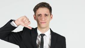 下来拇指由商人,白色背景 股票视频
